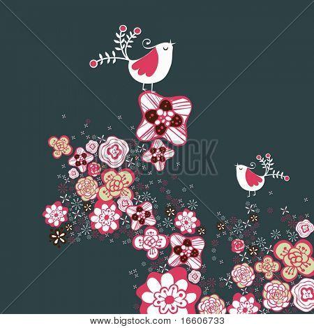 Patrón de vector romántico de tiempo de primavera