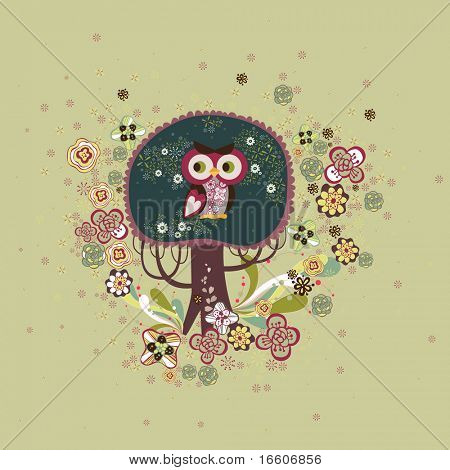 cute owl on a tree design