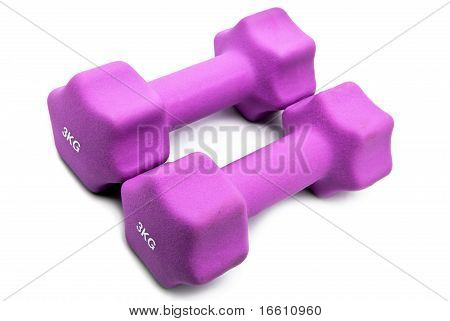 Pink 3 kg dumbbells in a neoprene cover