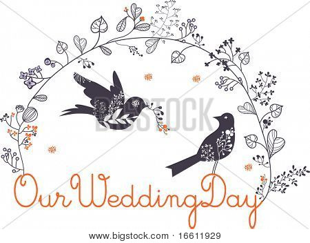 lovely birds wedding card