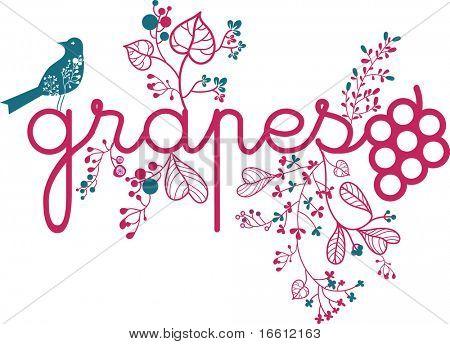 floral grapes design
