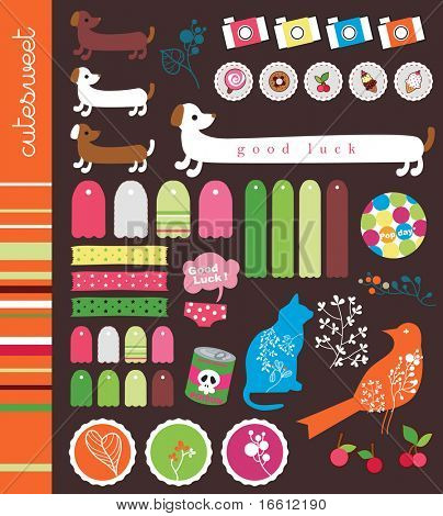 retro labels dog cat and bird sticker set