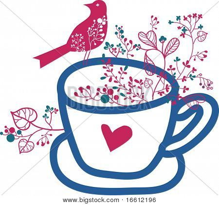 Cup of coffee with floral and bird