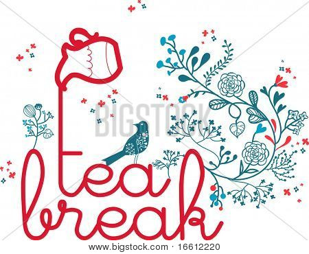 tea-break theme design with floral and bird