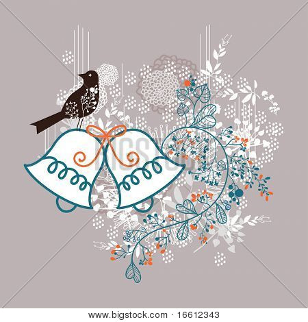 cute bird and wedding bell design