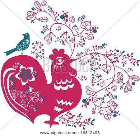 sweet little chicken shape garden wallpaper