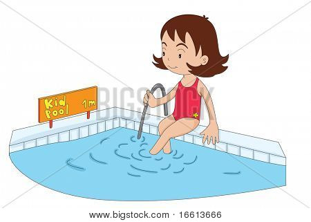 Illustration of a young girl entering the kiddy pool