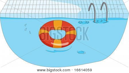 life saver ring in a pool illustration
