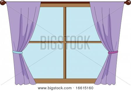 Illustration of window with purple curtains