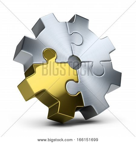 Gear of jigsaw puzzles. 3d image. Isolated white background.