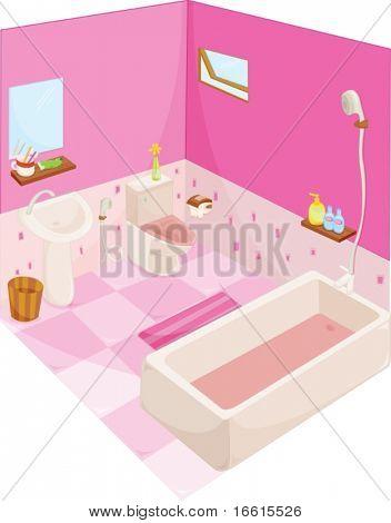 Abbildung von einem gut ausgestatteten Badezimmer