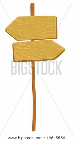 Illustration of an unmarked signpost