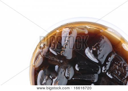 a close up photo of a glass of soft drink