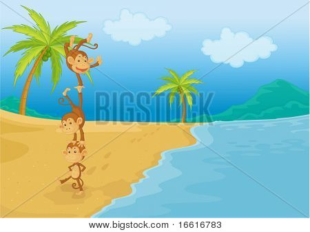 an illustration of monkeys playing on the beach