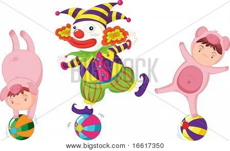 an illustration of two people dressed up as pigs and one dressed up as a clown
