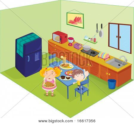 an illustration of two people serving food in a kitchen
