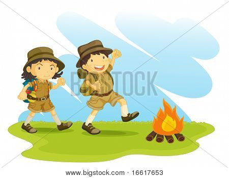 an illustration of two scouts outside next to a camp fire
