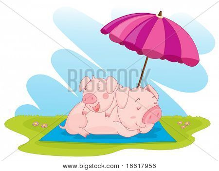 an illustration of two pigs relaxing in a park