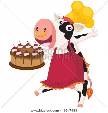 an illustration of a cow presenting a cake