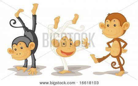 an illustration of three monkeys performing