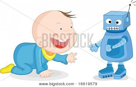 illustration of a robot baby sitter