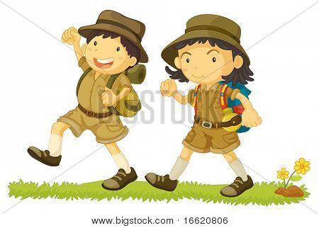 Illustration of 2 young kids hiking