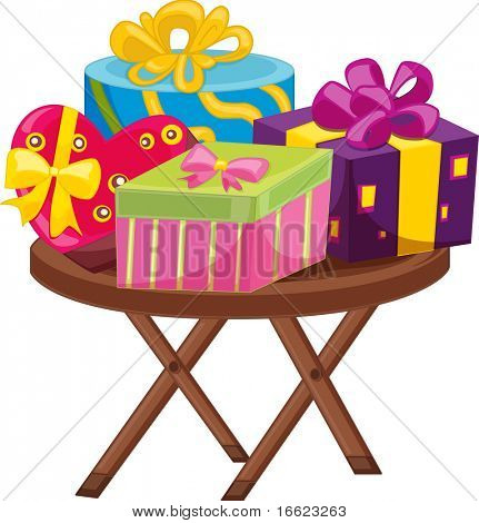 ilustration of gift boxes on stool