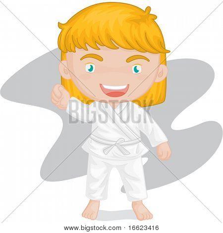 illustration of girl playing koong-foo-karate
