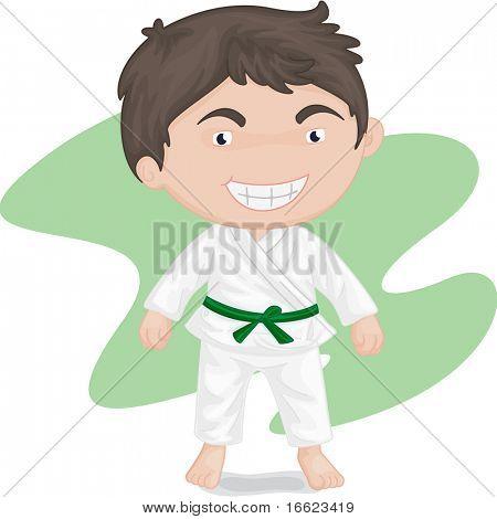 illustration of boy playing koong-foo-karate