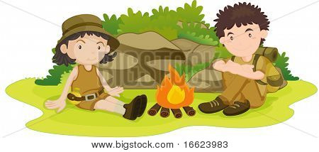 illustration of boy and girl wearing scout uniform