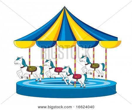 Illustration of merry go round on white