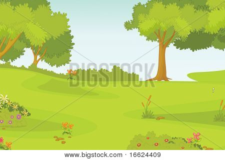 illustration of beautiful green landscape