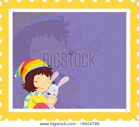 Girl in colouful hat hugging rabit on purple background