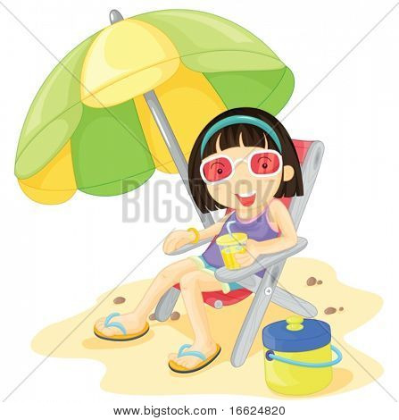 Girl in pink glasses sitting under a parasol