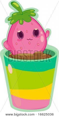 Living fruit creature inside flower pot