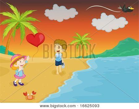 jungbulle lachen die Tatsache, die seiner Schwester ihre Ballon loslassen hat