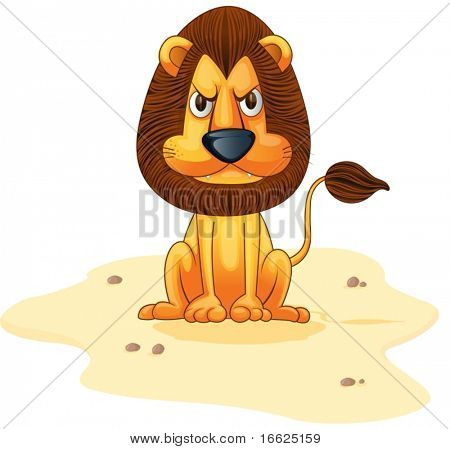 Hungy lion sitting on sandy area