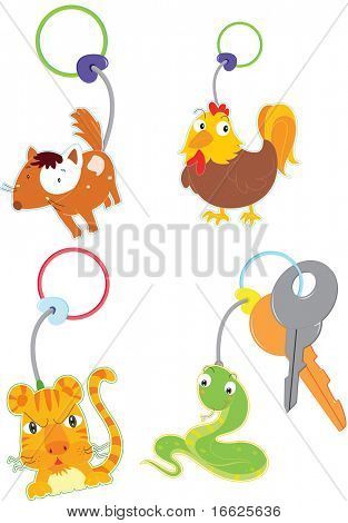 keyrings of animals (vector available in portfolio)
