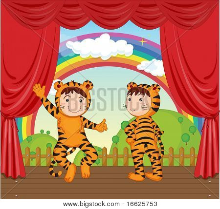 kids in tiger gear on stage (vector also in portfolio)