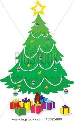 tree with gifts (vector version in portfolio)