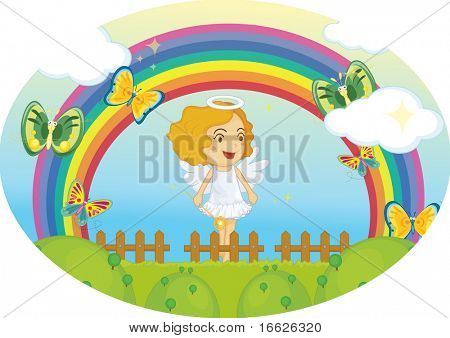 angel under rainbow (vector image also available in portfolio)