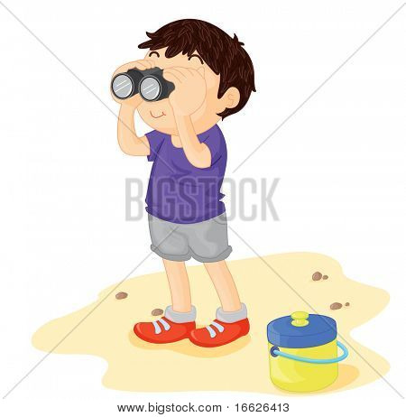boy with binoculars (vector image also available in portfolio)