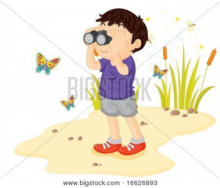 boy with binoculars (vector illustration also in portfolio)