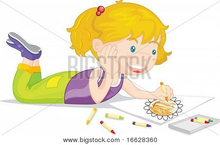 Illustration of  a girl on white (vector available in portfolio)