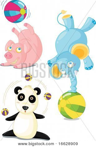 Illustration of  a cartoon animals on white (vector available in portfolio)