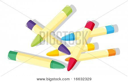 illustration of crayons on white