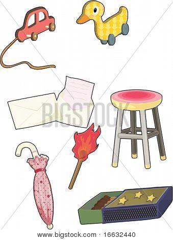 Abbildung von verschiedenen Objekten auf weiß
