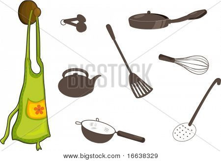 illustration of utensils on white