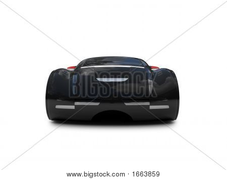 Isolated Black Super Car Front View 04