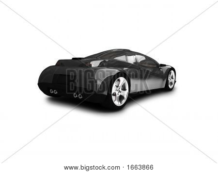 Isolated Black Super Car Back View 01